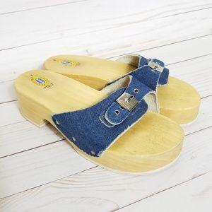 Dr Scholls   Blue Denim Clogs Made in Italy Sz.8